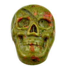 Natural 9.30cts unakite green carving 18x12 mm skull loose gemstone s18135