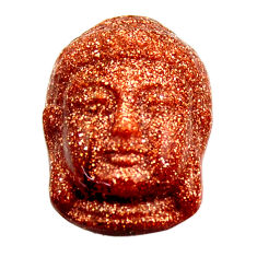 Natural ushnisha goldstone brown 22x15.5 mm buddha charm loose gemstone s18281