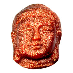 Natural ushnisha goldstone brown 22x15.5 mm buddha charm loose gemstone s18282