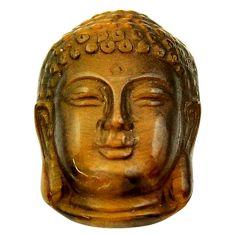 Natural ushnisha tiger's eye brown 22x15 mm buddha charm loose gemstone s18289
