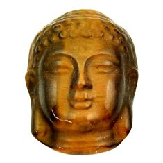 Natural ushnishatiger's eye brown 22x14 mm buddha charm loose gemstone s18287