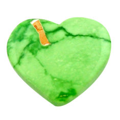 Natural 8.25cts variscite green cabochon 17.5x16 mm heart loose gemstone s17893