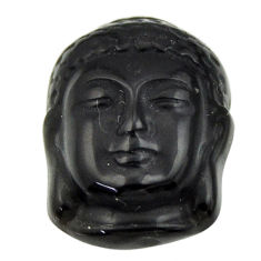 13.45cts onyx black 20x15 mm fancy shakyamuni buddha face loose gemstone s18270