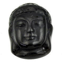 14.35cts onyx black 20x15 mm shakyamuni buddha face loose gemstone s18271