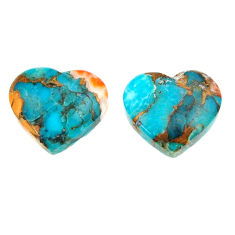 12.40cts pair spiny oyster arizona turquoise 14x12.5 mm loose gemstone s16821
