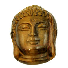Shakyamuni buddha face 18.45cts tiger's eye 22.5x15.5 mm loose gemstone s18277