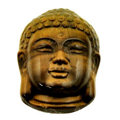 Shakyamuni buddha face 17.40cts tiger's eye 22x15.5 mm loose gemstone s18278