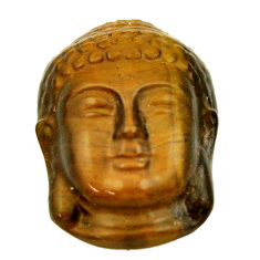 Shakyamuni buddha 17.40cts tiger's eye brown 22x15.5 mm loose gemstone s18272