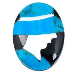 5.25cts sleeping beauty turquoise inlay 16x12 mm round loose gemstone s20490