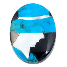 4.30cts sleeping beauty turquoise inlay 16x12 mm round loose gemstone s20492