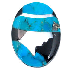 4.05cts sleeping beauty turquoise inlay 16x12 mm round loose gemstone s20494