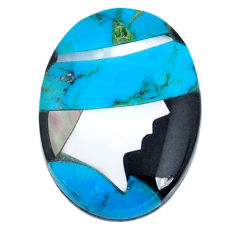 4.10cts sleeping beauty turquoise inlay 16x12 mm round loose gemstone s20497