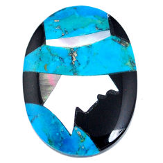 12.40cts sleeping beauty turquoise inlay cabochon 25x18 mm loose gemstone s20515