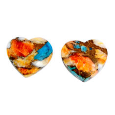 12.05cts spiny oyster arizona turquoise 14x12 mm pair loose gemstone s19584