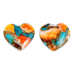 17.35cts spiny oyster arizona turquoise 16x15 mm pair loose gemstone s19594