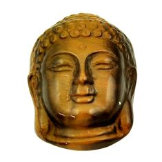 17.35cts tiger's eye 21.5x15 mm shakyamuni buddha face loose gemstone s18276