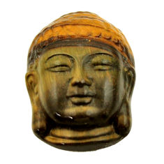 18.45cts tiger's eye 22x15.5 mm shakyamuni buddha face loose gemstone s18275