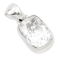 925 silver 5.38cts faceted natural white pollucite solitaire pendant p54364