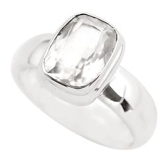 3.08cts faceted natural white pollucite 925 silver solitaire ring size 8 p54368