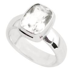 925 silver 4.61cts faceted natural white pollucite solitaire ring size 7 p54370