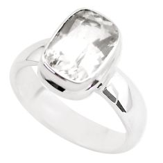 4.45cts faceted natural white pollucite 925 silver solitaire ring size 10 p54371