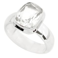 4.48cts faceted natural white pollucite 925 silver solitaire ring size 8 p54372
