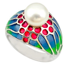 925 sterling silver natural white pearl enamel ring jewelry size 7.5 c16978