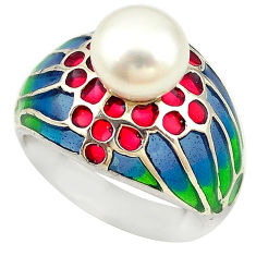 Natural white pearl enamel 925 sterling silver ring jewelry size 5.5 c16966