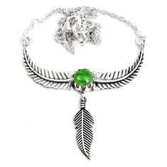 925 silver 2.96cts dreamcatcher natural green chrome diopside necklace p41968