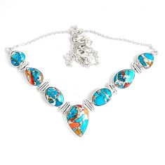 925 silver 63.65cts multi color spiny oyster arizona turquoise necklace p47433