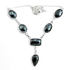 925 silver 48.97cts natural black psilomelane (crown of silver) necklace p69684