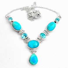 925 silver 33.76cts natural blue campitos turquoise topaz necklace p88630