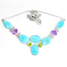 925 silver 57.28cts natural blue larimar amethyst peridot necklace p38409