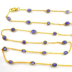 925 silver 38.89cts natural blue tanzanite 14k gold 35inch chain necklace p91647