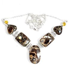 925 silver 76.94cts natural brown turritella fossil snail agate necklace p47626