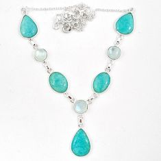 925 silver natural green amazonite (hope stone) moonstone necklace j10334