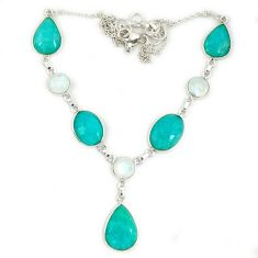 925 silver natural green amazonite (hope stone) moonstone necklace jewelry j2342