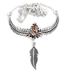 925 silver 7.48cts natural grey meteorite gibeon dreamcatcher necklace p42125