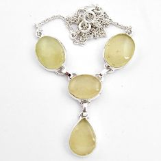 925 silver 42.46cts natural libyan desert glass (gold tektite) necklace p89018