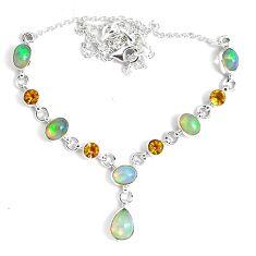 925 silver 16.94cts natural multi color ethiopian opal citrine necklace p47376