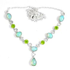 925 silver 17.24cts natural multi color ethiopian opal peridot necklace p47364