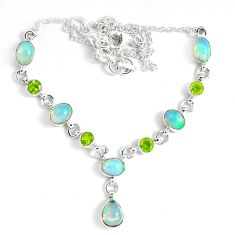 925 silver 17.24cts natural multi color ethiopian opal peridot necklace p47367