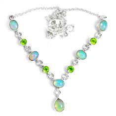 925 silver 17.24cts natural multi color ethiopian opal peridot necklace p47371