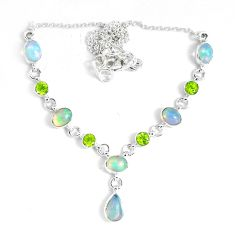 925 silver 16.37cts natural multi color ethiopian opal peridot necklace p47380
