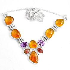 925 silver 41.15cts natural multi color tourmaline amethyst necklace p76760