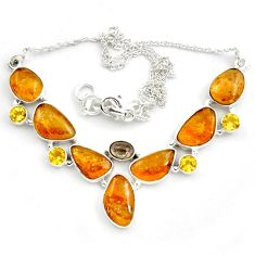 925 silver 43.75cts natural multi color tourmaline citrine necklace p76743