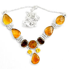 925 silver 42.00cts natural multi color tourmaline garnet necklace p81485