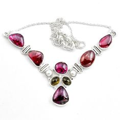925 silver 41.15cts natural multi color tourmaline pearl necklace jewelry p81487