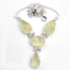 925 silver 40.85cts natural rainbow libyan desert glass necklace jewelry p89015