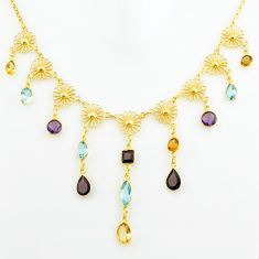 925 silver 28.60cts natural red garnet amethyst topaz 14k gold necklace p75042